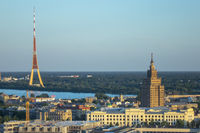 Aerial panoramic view Academy of Sciences and Riga Radio and TV Tower.