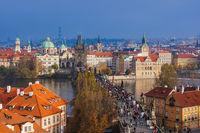 Prague Czech Republic - October 19 2017: People walking on the Charles bridge in Prague