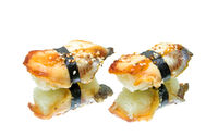 smoked eel sushi on white background with reflection