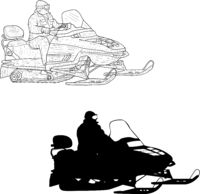 Snowmobile with driver silhouette sketch on white background