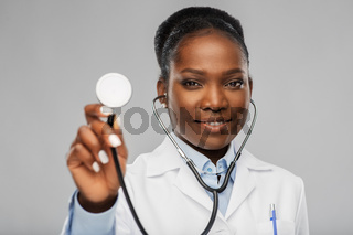 african american female doctor with stethoscope