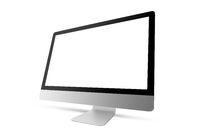 New model of computer display with blank mockup screen.