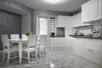 Simple and luxury modern white kitchen interior