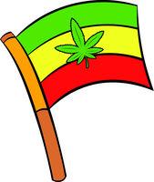 Cannabis leaf on rastafarian flag icon