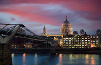 A view across the River Thames at dusk towards St. Paul's Cathedral in London