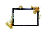 Gold acrylic flows over black frame isolated