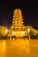 zhangye wooden pagoda at night