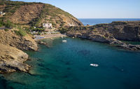Aerial view of resort village Bali and Karavostasis beach. Crete, Greece