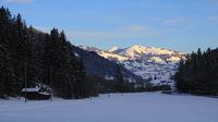 Winter morning scene in the Saanenland valley, Switzerland.