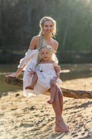 Mother And Daughter Enjoying A Day Outdoors