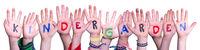 Children Hands Building Word Kindergarden, Isolated Background