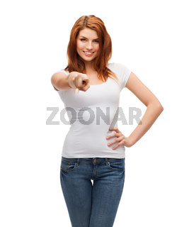 teenager in blank white t-shirt pointing at you