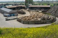 Altholzlager in einer Mülldeponie