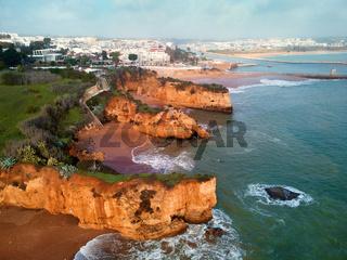 Praia do Pinhao landscape aerial view. Algarve, Lagos, Portugal