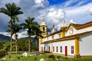 Old cemetery next to old colonial church in Tiradentes city