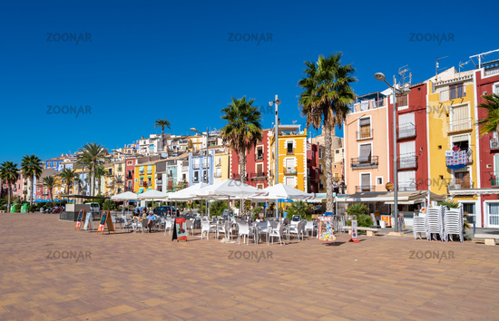 Villajoyosa, Spain - October 17, 2019: Colorful houses in coastal village of Villajoyosa, Alicante, Spain