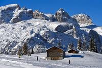 Skifahrenauf der Sellaronda am Sellastock, Corvara, Alta Badia, Dolomiten, Südtirol, Italien