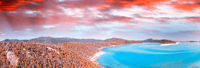 Amazing island in the middle of the ocean. Panoramic view at sunset. Holiday and travel concept