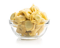 Tortellini pasta in glass bowl. Italian stuffed pasta