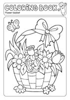 Coloring book flower basket theme 2
