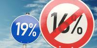Erhöhung der Mehrwertsteuer in den Deutschland von 16 Prozent auf 19 Prozent