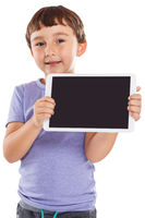 Young boy child holding tablet computer information marketing ad advertising isolated on white