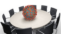 Coronavirus und Konferenztisch