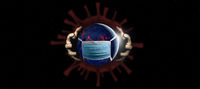 Coronavirus infecting the world, virus cell with human hands grasping the planet earth with mask