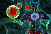 Woman healer prays against Coronavirus Wuhan, China COVID-19 molecules flying around. Epidemic virus infection and the risk of life. Care of health. faith meditation healer concept 3D illustration