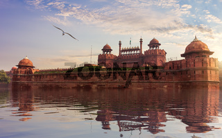 Red Fort of Delhi, fictional view, India