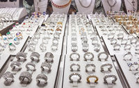 Jewelery store with rings of platinum with diamonds in Dubai
