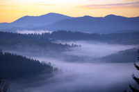 Morning landscape in the mountains. Dawn in the mountains.