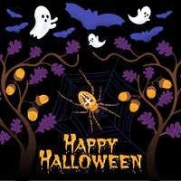Happy Halloween Composition with spooky bats, ghost, spider and spider net in a mystical forest before a black background for instagram banners. Vector illustration.