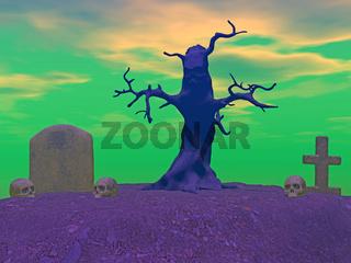 Horrorgrab mit Totenbaum auf dem Friedhof