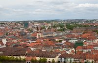 View of the German European city of Wurzburg, a view from the hill.