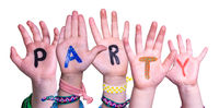 Children Hands Building Word Party, Isolated Background