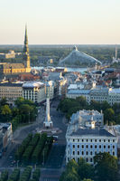 Old town views to St. Peter's Church and the Freedom Monument in Riga.