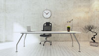 Workspace white table with concrete wall office realistic 3D rendering