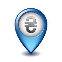 Ukrainian Hryvnia symbol on Mapping Marker vector icon.