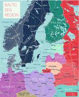 Baltic region detailed editable map
