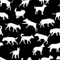 Seamless pattern with domestic dogs. Can be used as Christmas design for wrapping, postcards, and textile