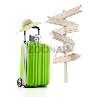 Travel suitcase, hat, smartphone and camera standing next to blank direction signs
