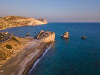 Aphrodite rock at sunset on Paphos Cyprus - aerial view