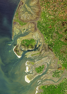 satellite image of Wadden Sea coast, Germany