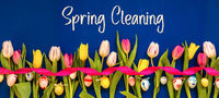 Banner With Colorful Tulip, Text Spring Cleaning, Easter Egg