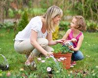 Mutter und Kind topfen Pflanzen ein
