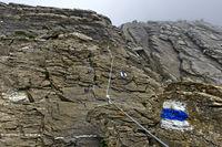 blau-weiss markierter Alpinwanderweg auf die Grosse Krinne, Gindelwald, Berner Oberland, Schweiz