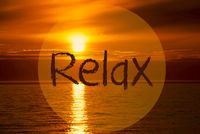 Romantic Ocean Sunset, Sunrise, English Text Relax