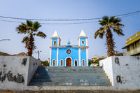 Blue church in Sao Filipe, Fogo Island, Cape Verde
