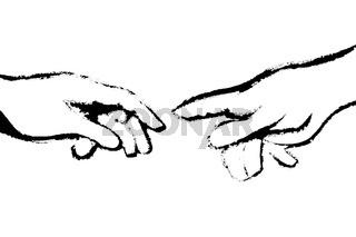 Michelangelos Fingerzeig schwarz